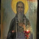 Икона прп. Макария Риилянина с лампадой