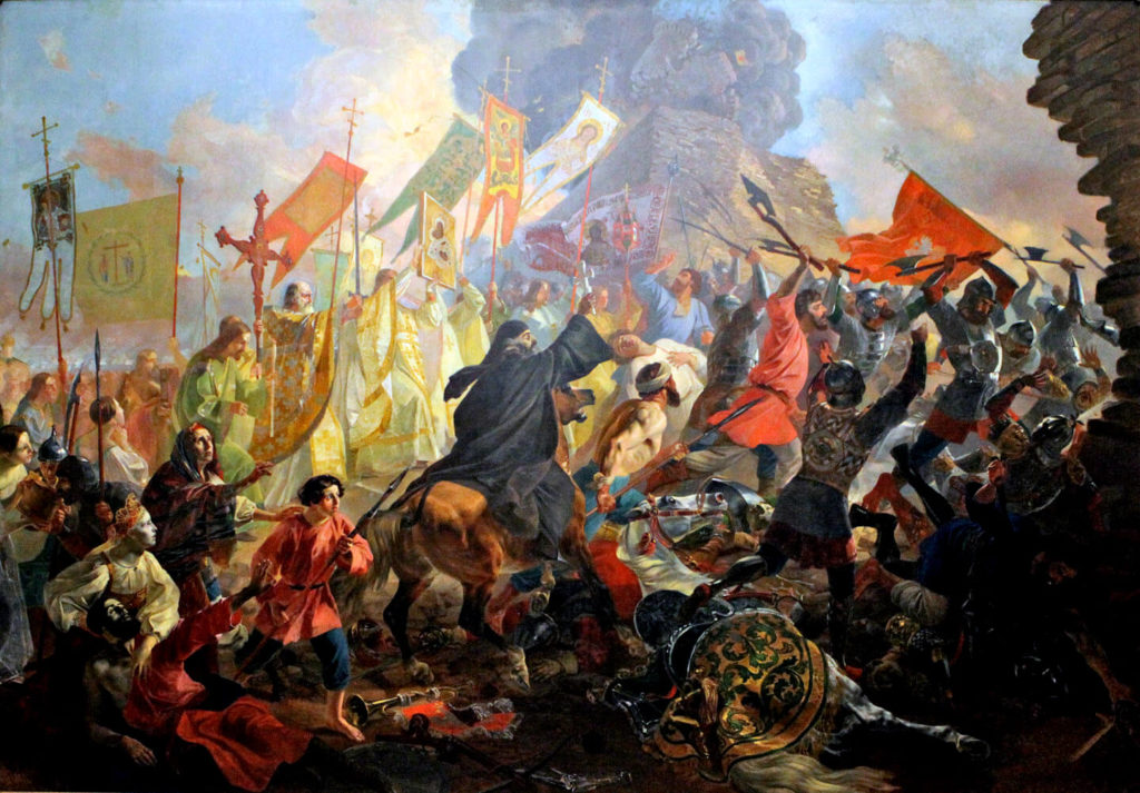 Осада Пскова польским королем Стефаном Баторием в 1581 году. Карл Брюллов