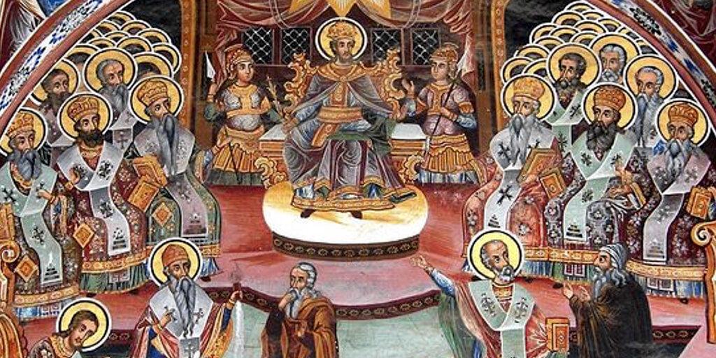 Первый Вселенский Собор, Никея, 325 год (фрагмент иконы)
