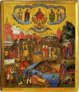 Происхождение Честнаго и Животворящего Креста Господня на источник (уральская икона, XIX век)