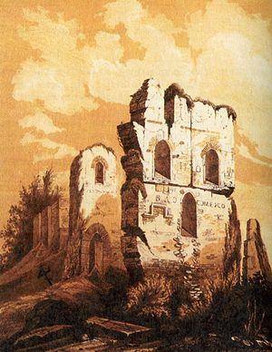 Руины Десятинной церкви. Гравюра 1826 года, копия более древнего изображения